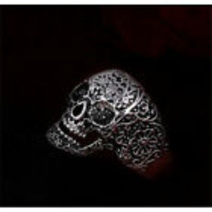 Etched Skull Ring Silver